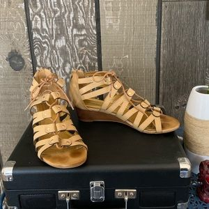 Shoedazzle Tan Lace-up Sandals